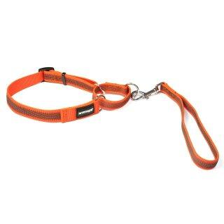 Mystique® Gummierte Agility Leine 30mm neon orange 40-60cm
