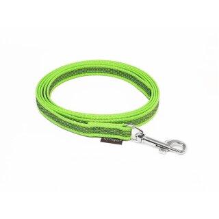 Mystique® Gummierte Leine 15mm mit Handschlaufe Standard Karabiner neon grün 3m