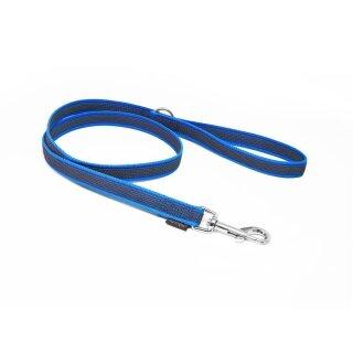 Mystique® Gummierte Leine 20mm mit Handschlaufe Standard Karabiner blau 1m