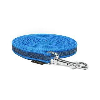 Mystique® Gummierte Schleppleine 15mm mit Handschlaufe Standard Karabiner blau 10m