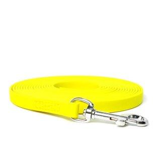Mystique® Biothane Schleppleine 16mm vernäht mit HS Standard Karabiner beta neon gelb 20m