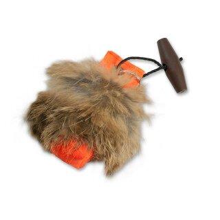 Mystique Mini Dummy Schlüsselanhänger Key Case orange mit Fell