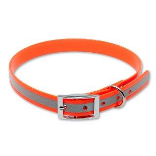 Mystique® Biothane Halsband deluxe 19mm reflex orange gold 50-58cm