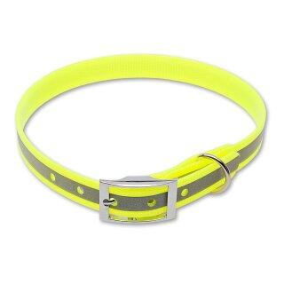 Mystique® Biothane Halsband deluxe 19mm reflex gelb gold 50-58cm