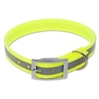 Mystique® Biothane Halsband deluxe 25mm reflex gelb gold 45-53cm