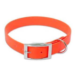 Mystique® Biothane Halsband deluxe 25mm neon orange 50-58cm