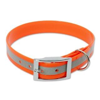 Mystique® Biothane Halsband deluxe 25mm reflex orange gold 50-58cm