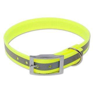 Mystique® Biothane Halsband deluxe 25mm reflex gelb gold 50-58cm