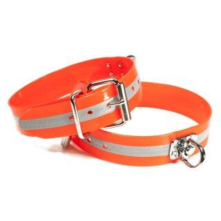 Mystique® Biothane Schweisshalsband 38mm reflex orange gold 40-50cm